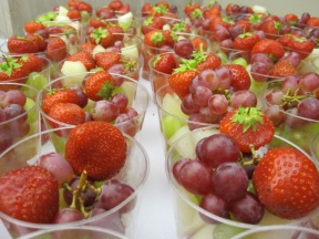 fruit, strawberries, cups