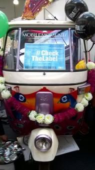 Rickshaw with sign
