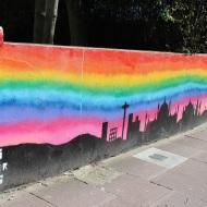 Rainbow sky and Bbrighton silhoutte