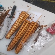 Waffle on a stick preperation