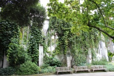 Leaf covered walls and benches