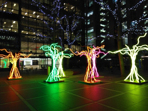 Light trees, Liverpool Street station