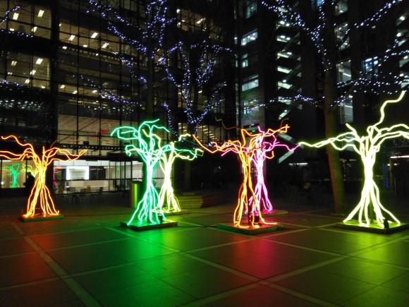 Light trees, Liverpool Street station