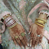 Bride's hennaed hands