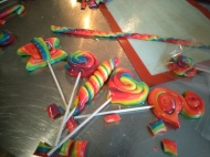 Finished rainbow lollipops