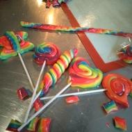 Finished rainbow lollipops