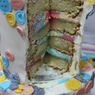 Cake with blue and pink icing