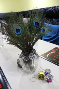 Peacock feather table decor