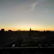 London skyline and sunset
