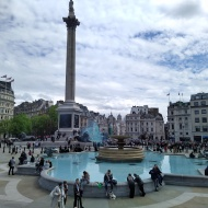 Trafalgar Square and protestors