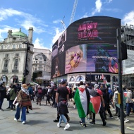 Piccadilly Circus and protestors